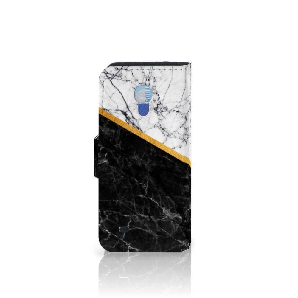 Samsung Galaxy S4 Mini i9190 Bookcase Marmer Wit Zwart