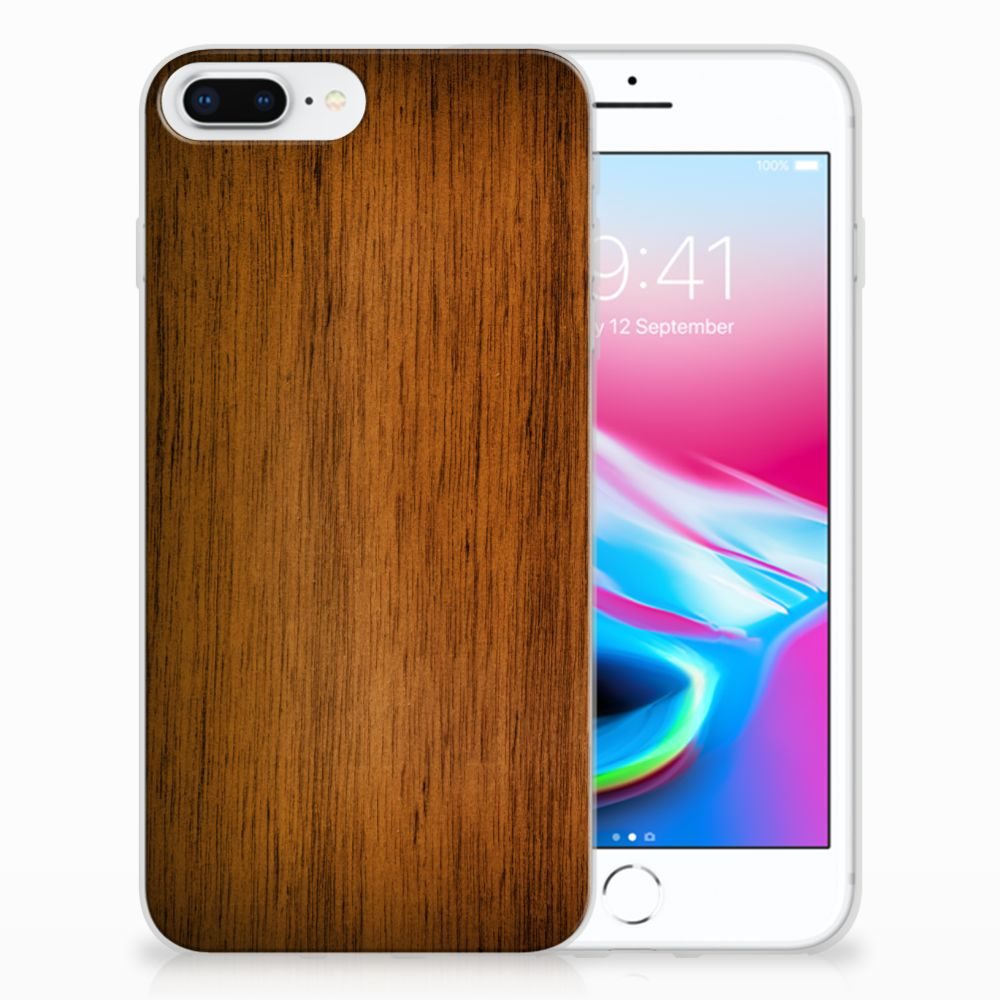 Apple iPhone 7 Plus | 8 Plus Uniek TPU Hoesje Donker Hout