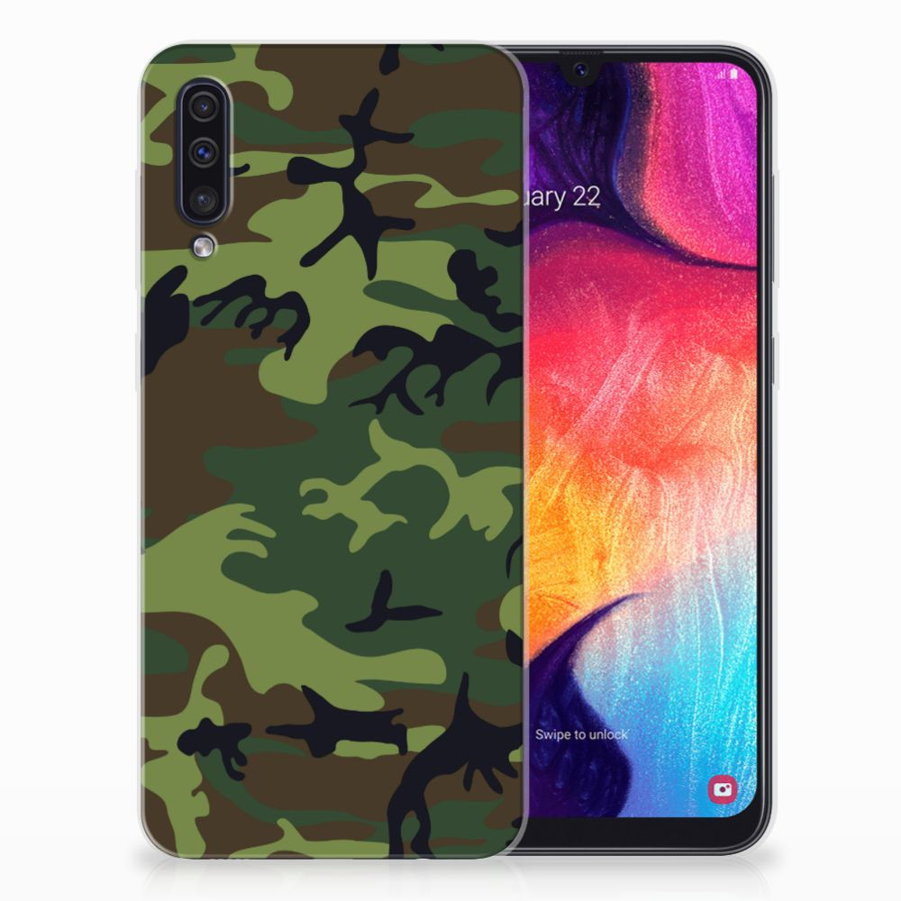 Samsung Galaxy A50 TPU Hoesje Design Army Dark