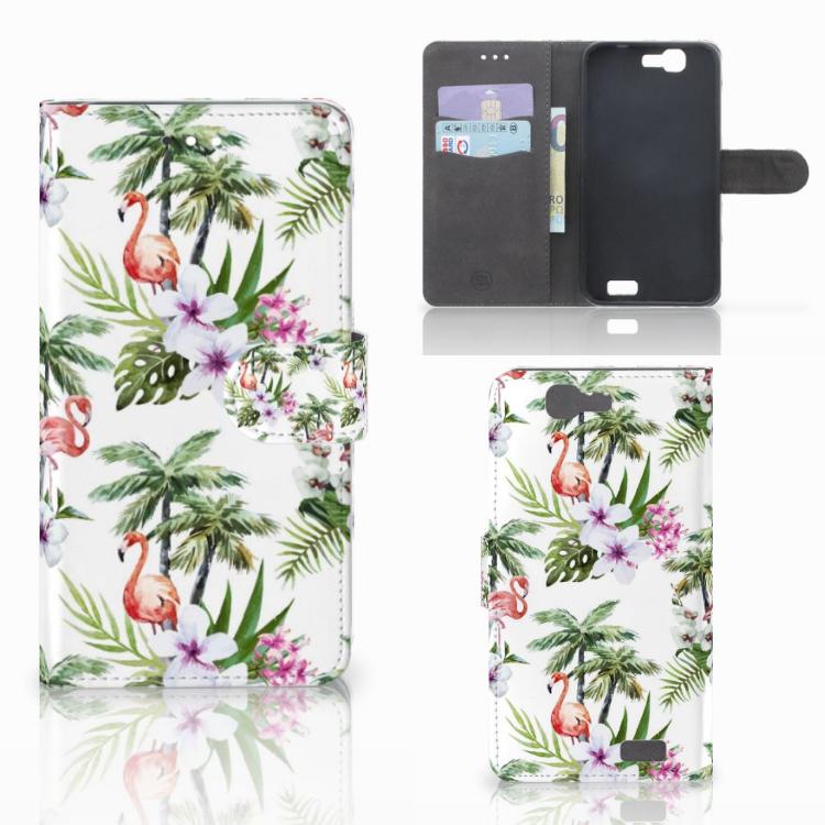Huawei Ascend G7 Telefoonhoesje met Pasjes Flamingo Palms