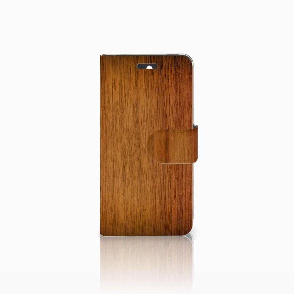 Huawei Ascend Y550 Uniek Boekhoesje Donker Hout