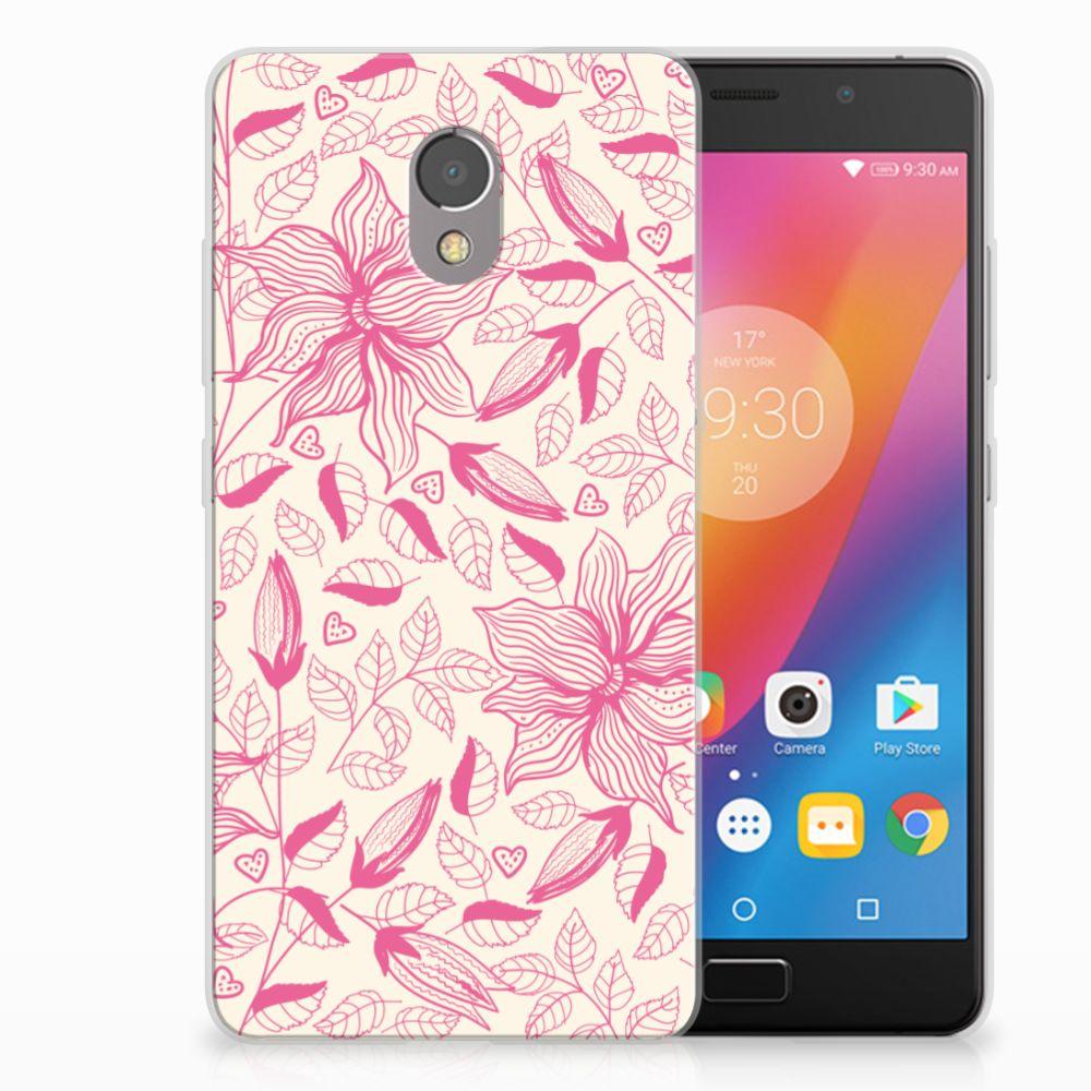 B2Ctelecom Lenovo P2 Uniek TPU Hoesje Pink Flowers