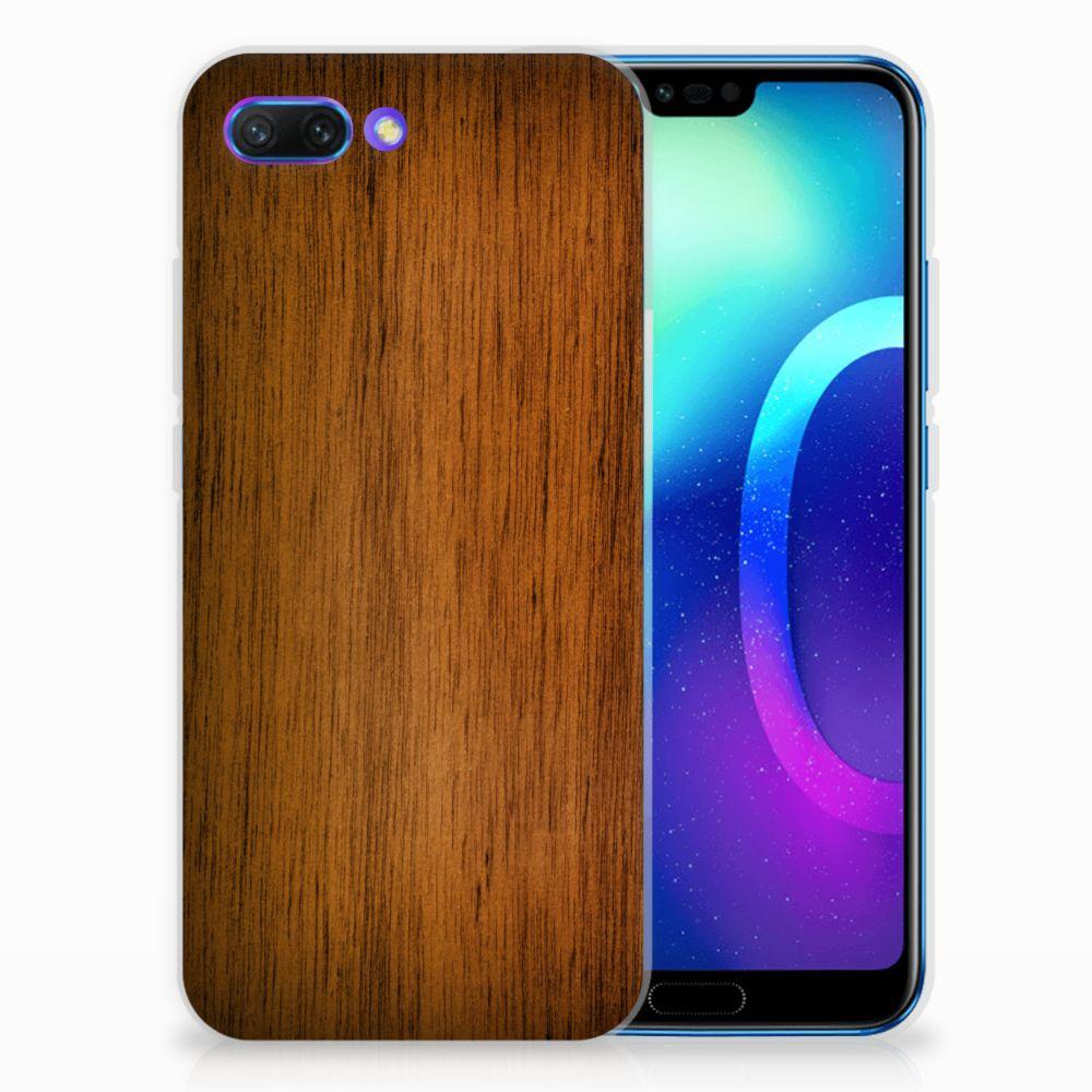 Huawei Honor 10 Uniek TPU Hoesje Donker Hout