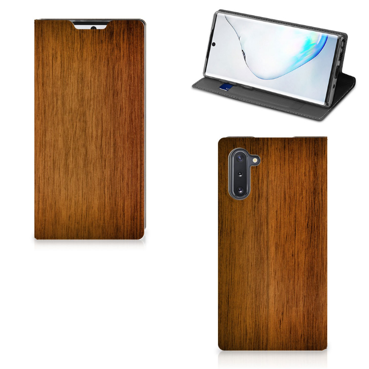 Samsung Galaxy Note 10 Book Wallet Case Donker Hout