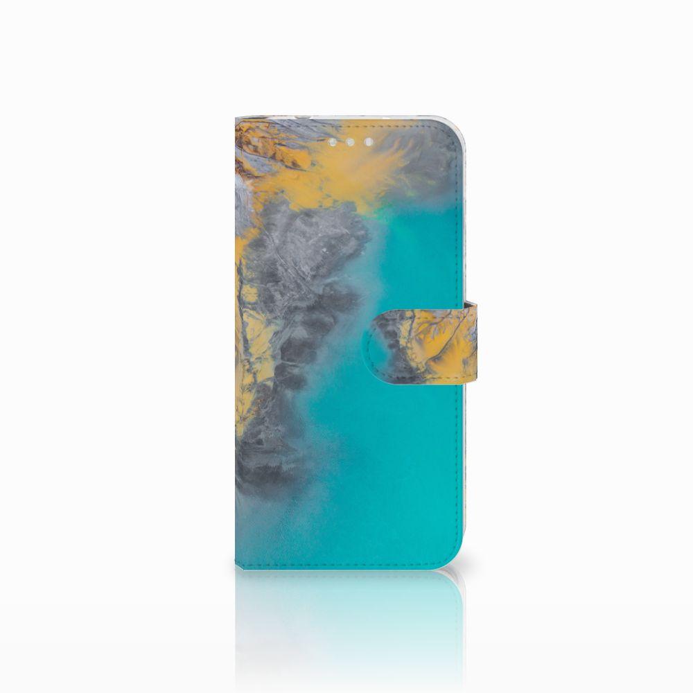 Huawei P20 Pro Boekhoesje Design Marble Blue Gold