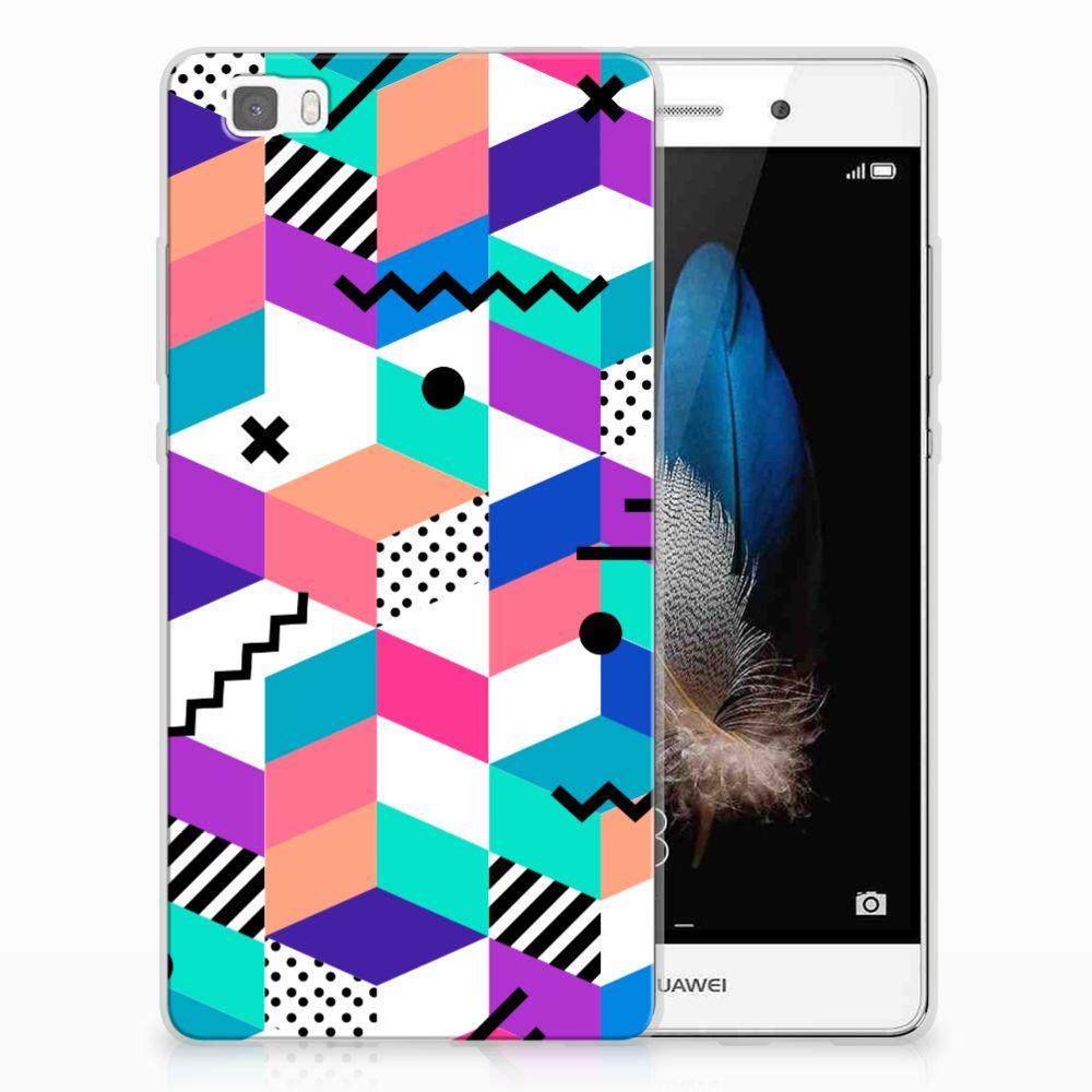 Huawei Ascend P8 Lite TPU Hoesje Blokken Kleurrijk