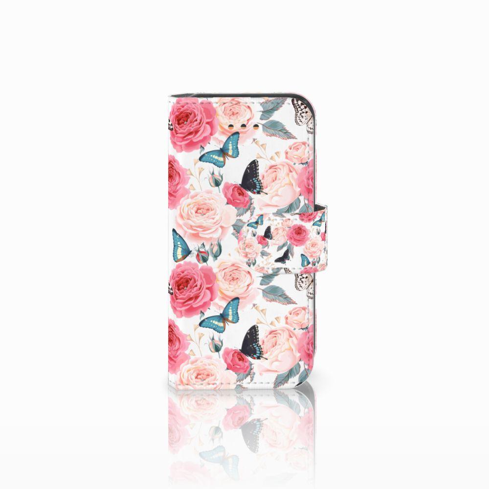 Apple iPhone 5C Uniek Boekhoesje Butterfly Roses