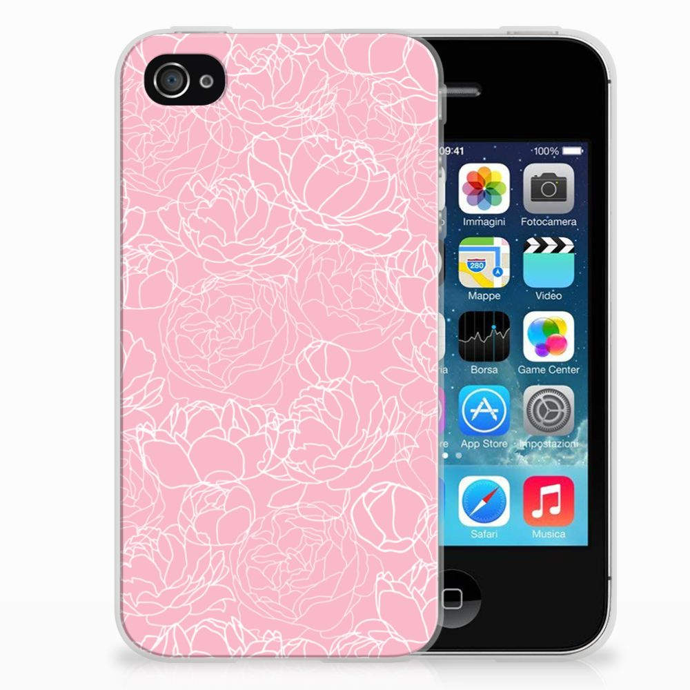 Apple iPhone 4 | 4s TPU Hoesje Design White Flowers