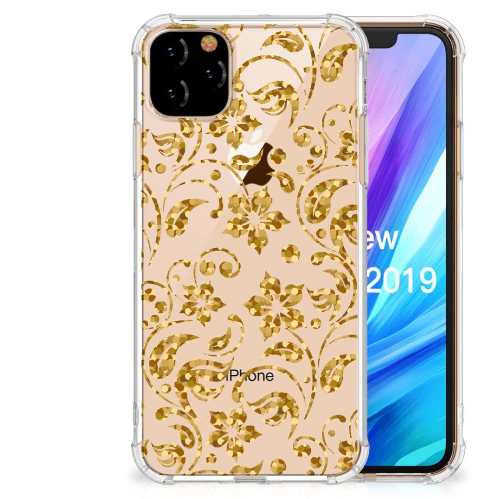 Apple iPhone 11 Pro Max Case Gouden Bloemen