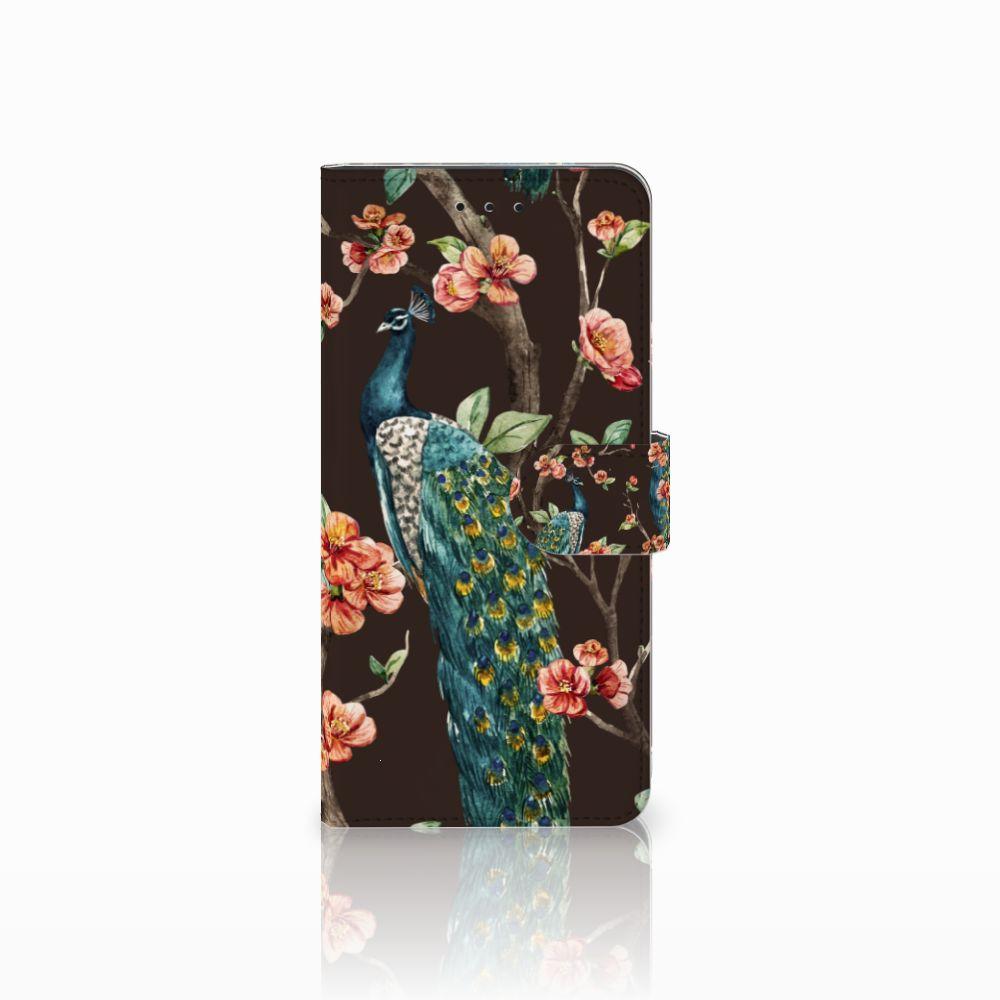 Motorola Moto E5 Plus Boekhoesje Design Pauw met Bloemen