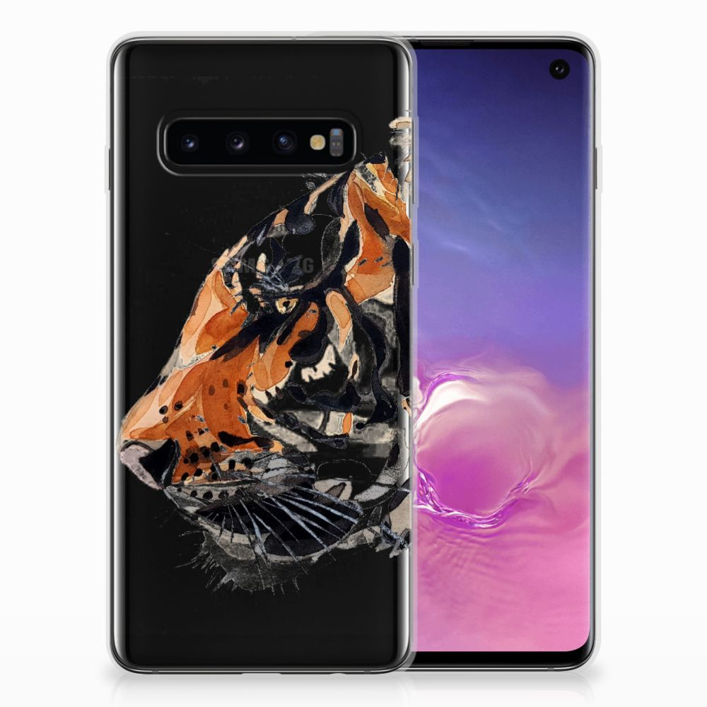 Hoesje maken Samsung Galaxy S10 Watercolor Tiger