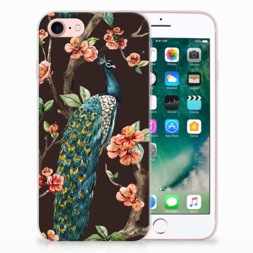 Apple iPhone 7 | 8 TPU Hoesje Design Pauw met Bloemen