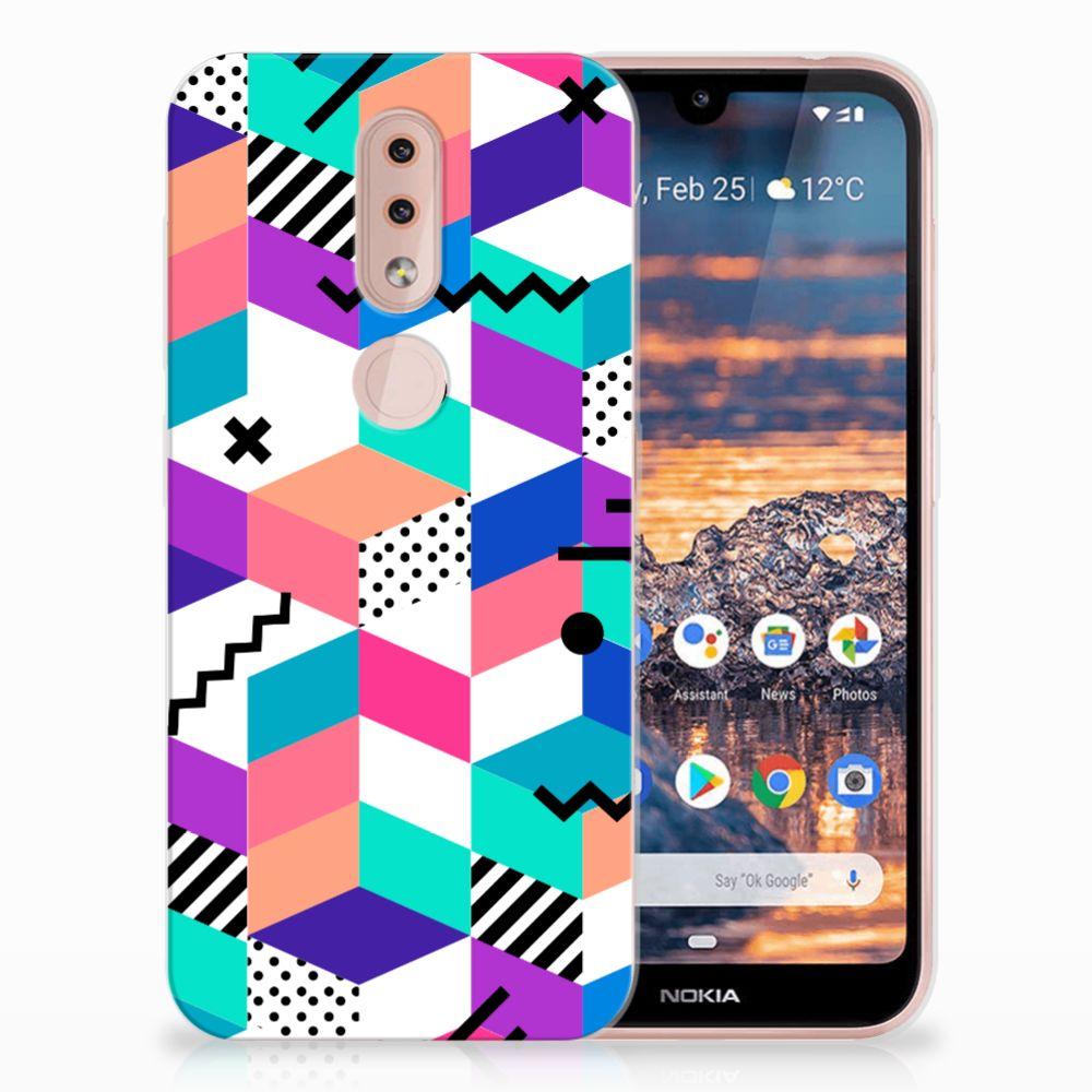 Nokia 4.2 TPU Hoesje Blokken Kleurrijk
