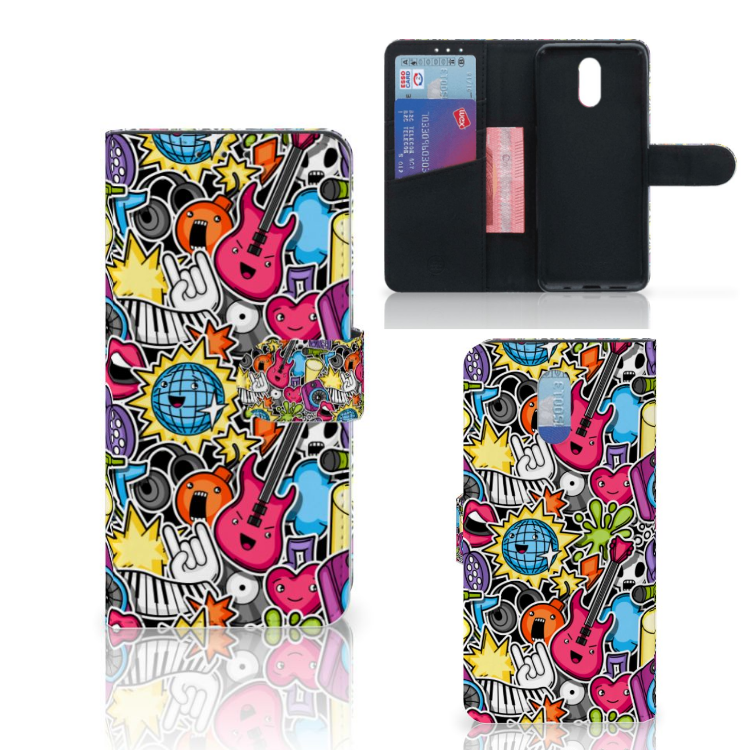 Nokia 2.3 Wallet Case met Pasjes Punk Rock
