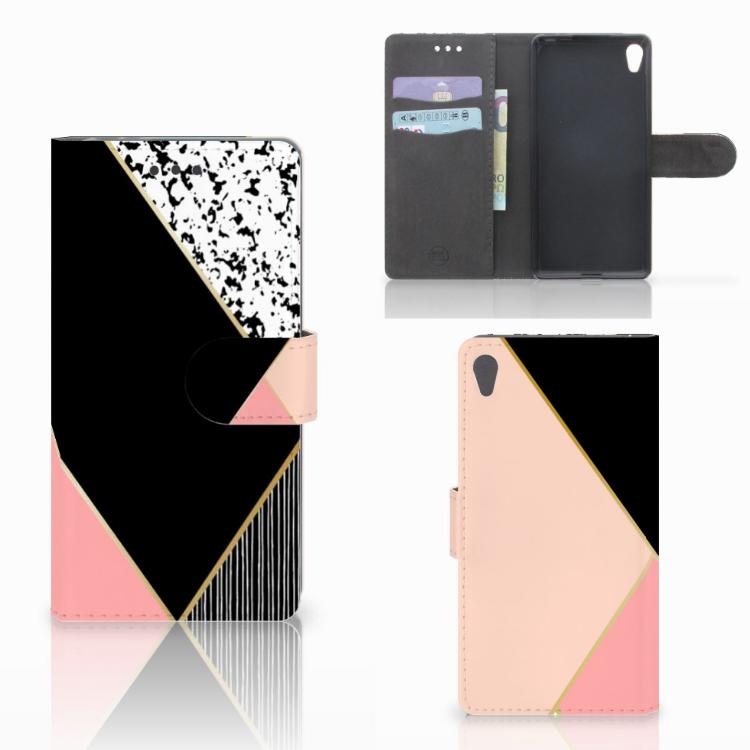 Sony Xperia E5 Bookcase Zwart Roze Vormen