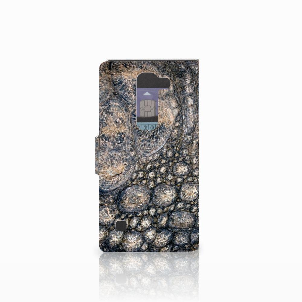 LG Spirit Telefoonhoesje met Pasjes Krokodillenprint