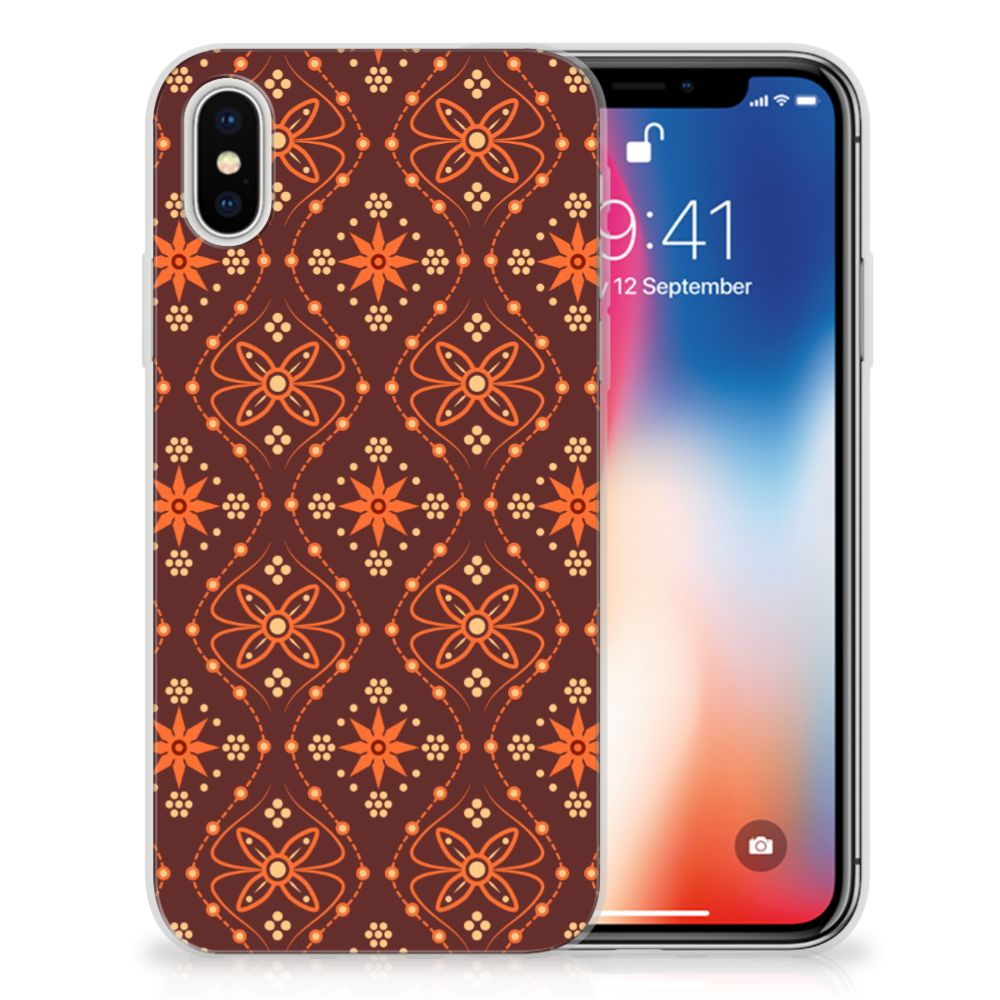 Apple iPhone X | Xs Uniek TPU Hoesje Batik Brown