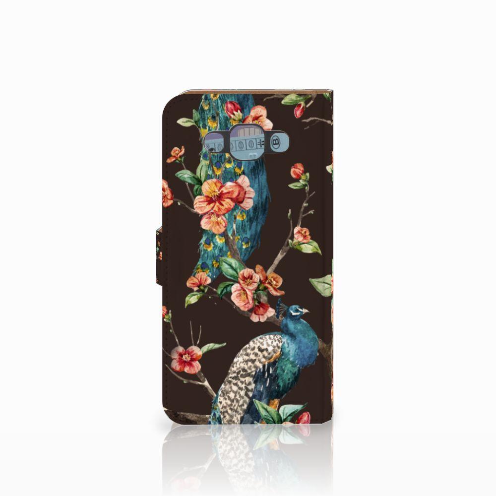 Samsung Galaxy E7 Telefoonhoesje met Pasjes Pauw met Bloemen