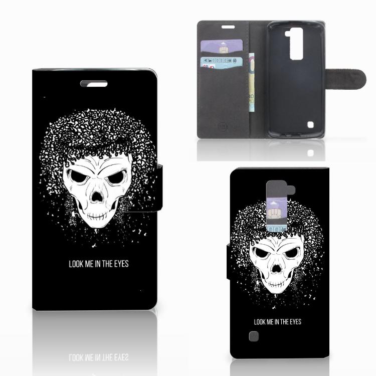 Telefoonhoesje met Naam LG K10 2015 Skull Hair