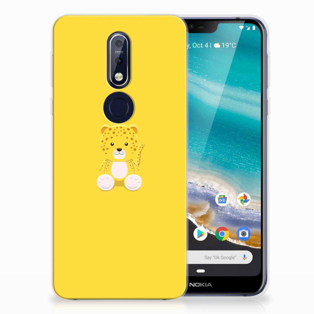Nokia 7.1 Telefoonhoesje met Naam Baby Leopard