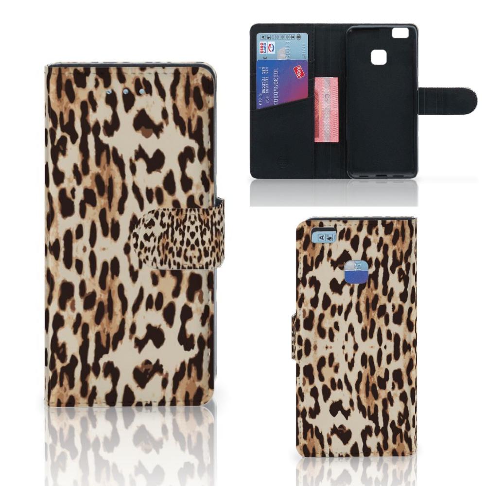 Huawei P9 Lite Telefoonhoesje met Pasjes Leopard
