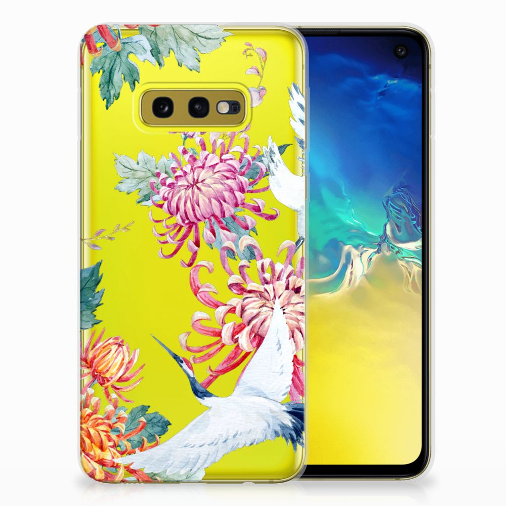 Samsung Galaxy S10e TPU Hoesje Bird Flowers