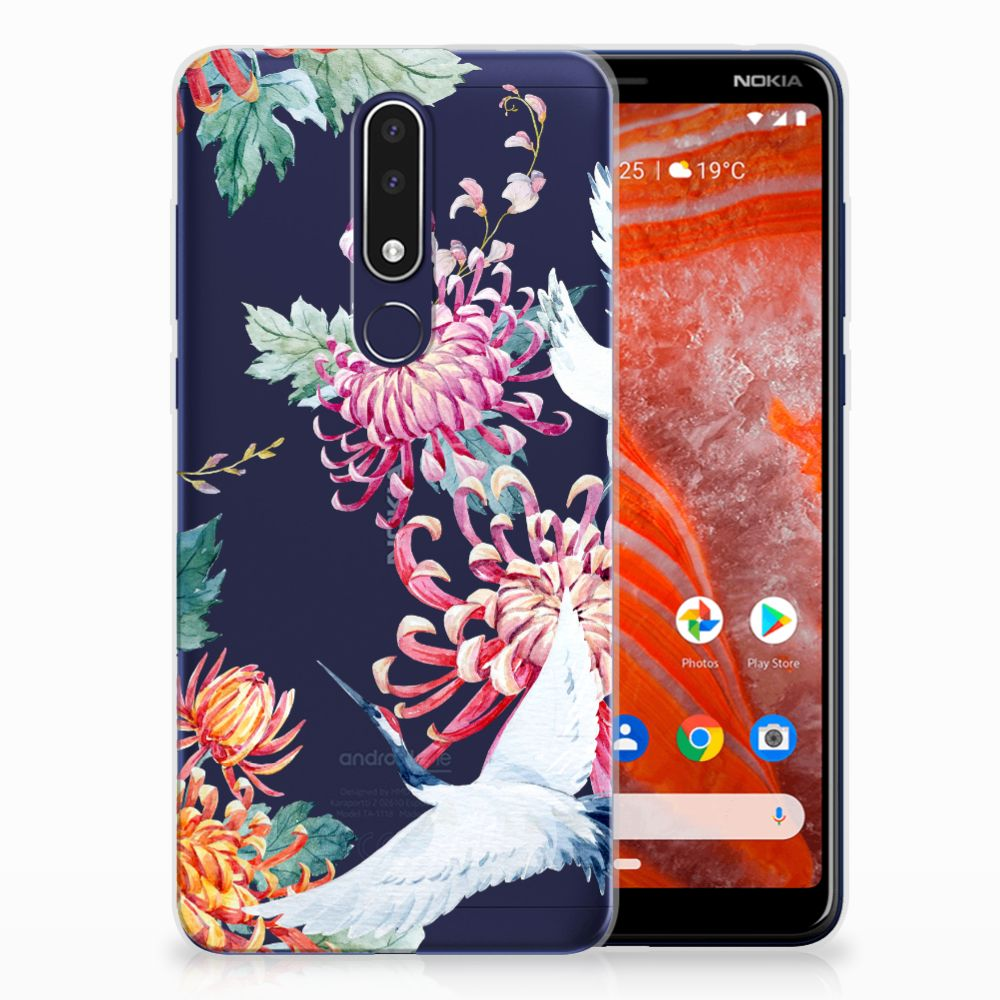 Nokia 3.1 Plus Uniek TPU Hoesje Bird Flowers