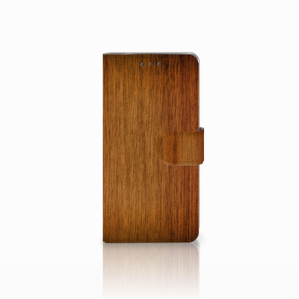Motorola Moto X4 Uniek Boekhoesje Donker Hout