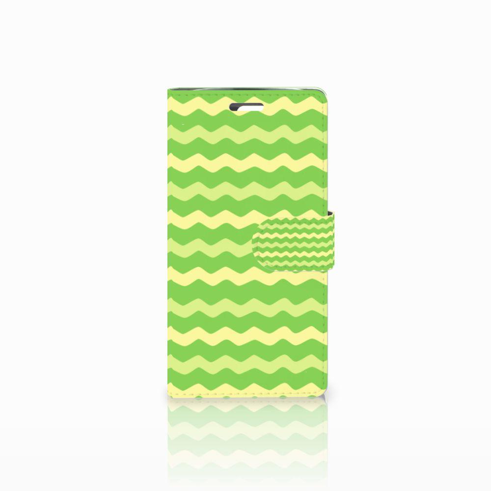 LG K10 2015 Boekhoesje Design Waves Green