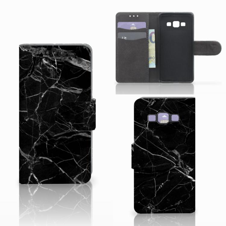 Samsung Galaxy A3 2015 Bookcase Marmer Zwart