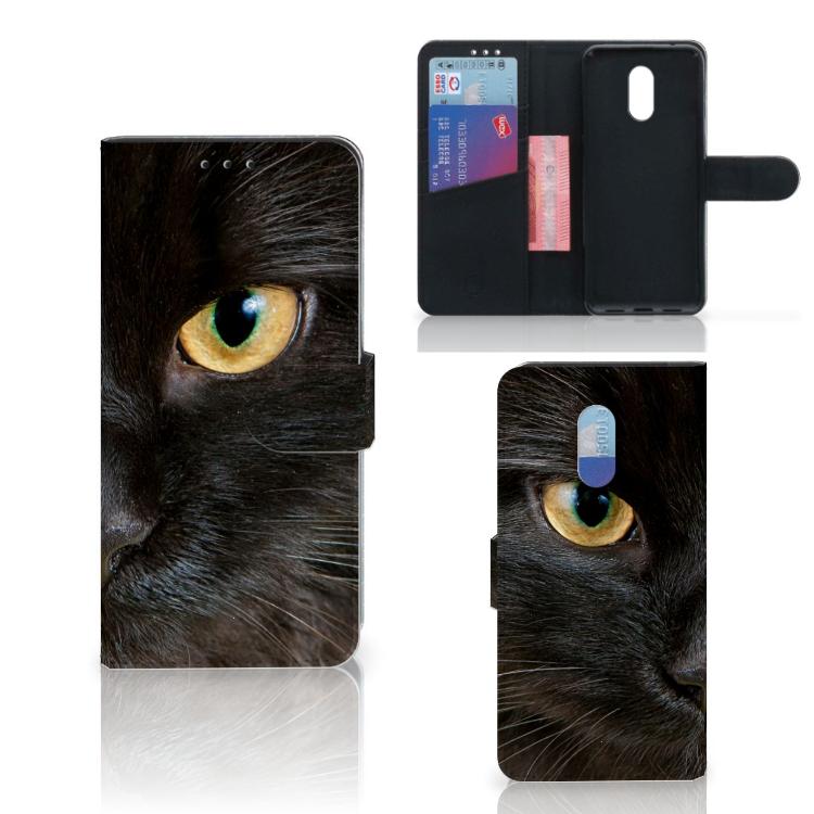 OnePlus 6T Telefoonhoesje met Pasjes Zwarte Kat