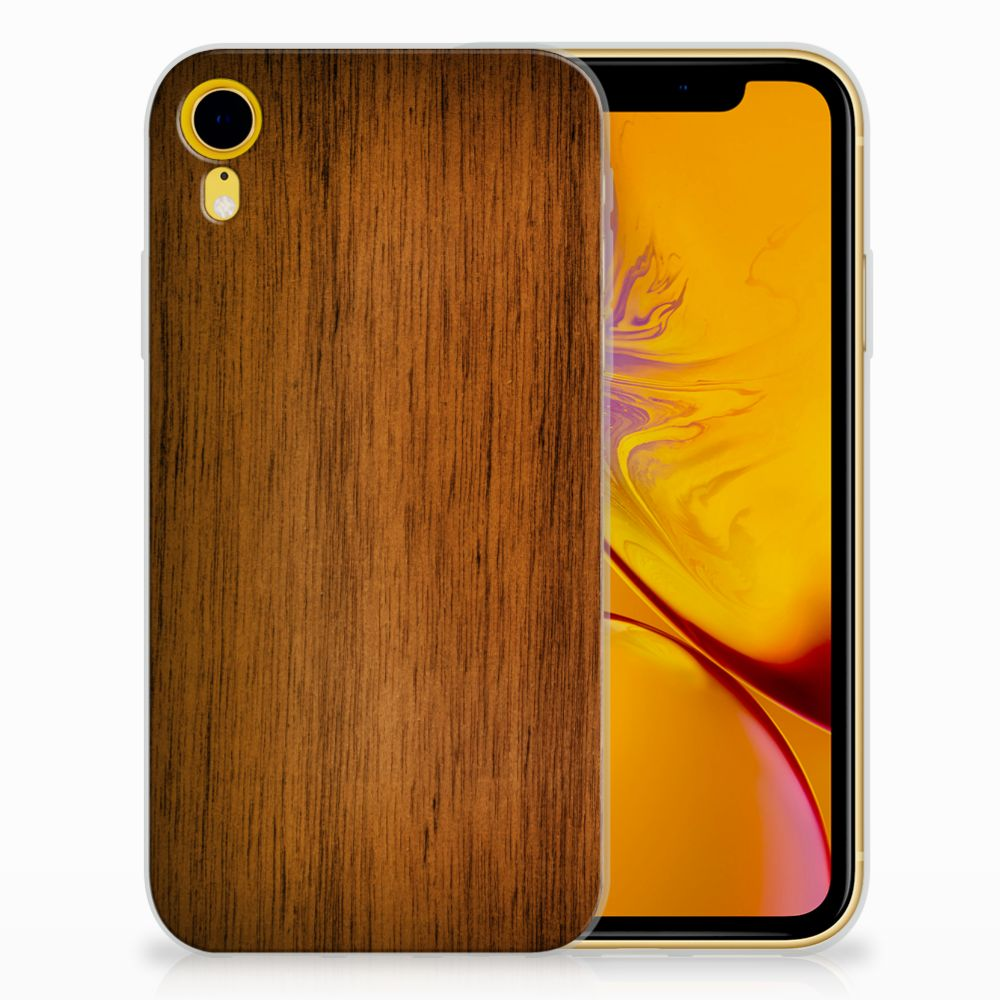 Apple iPhone Xr Uniek TPU Hoesje Donker Hout