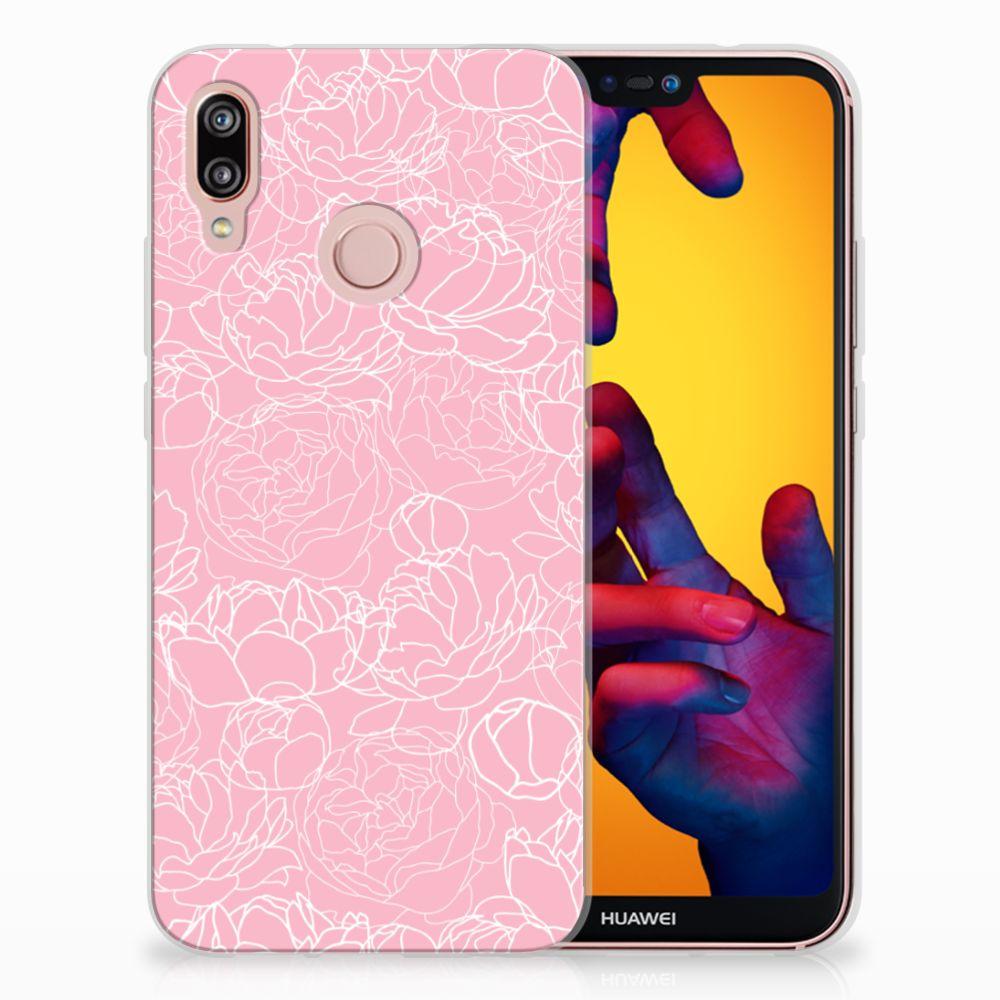 Huawei P20 Lite TPU Hoesje Design White Flowers