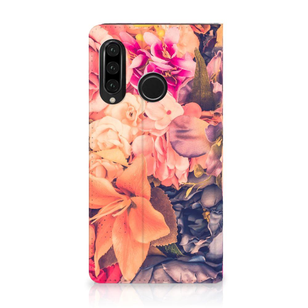 Huawei P30 Lite Standcase Hoesje Design Bosje Bloemen