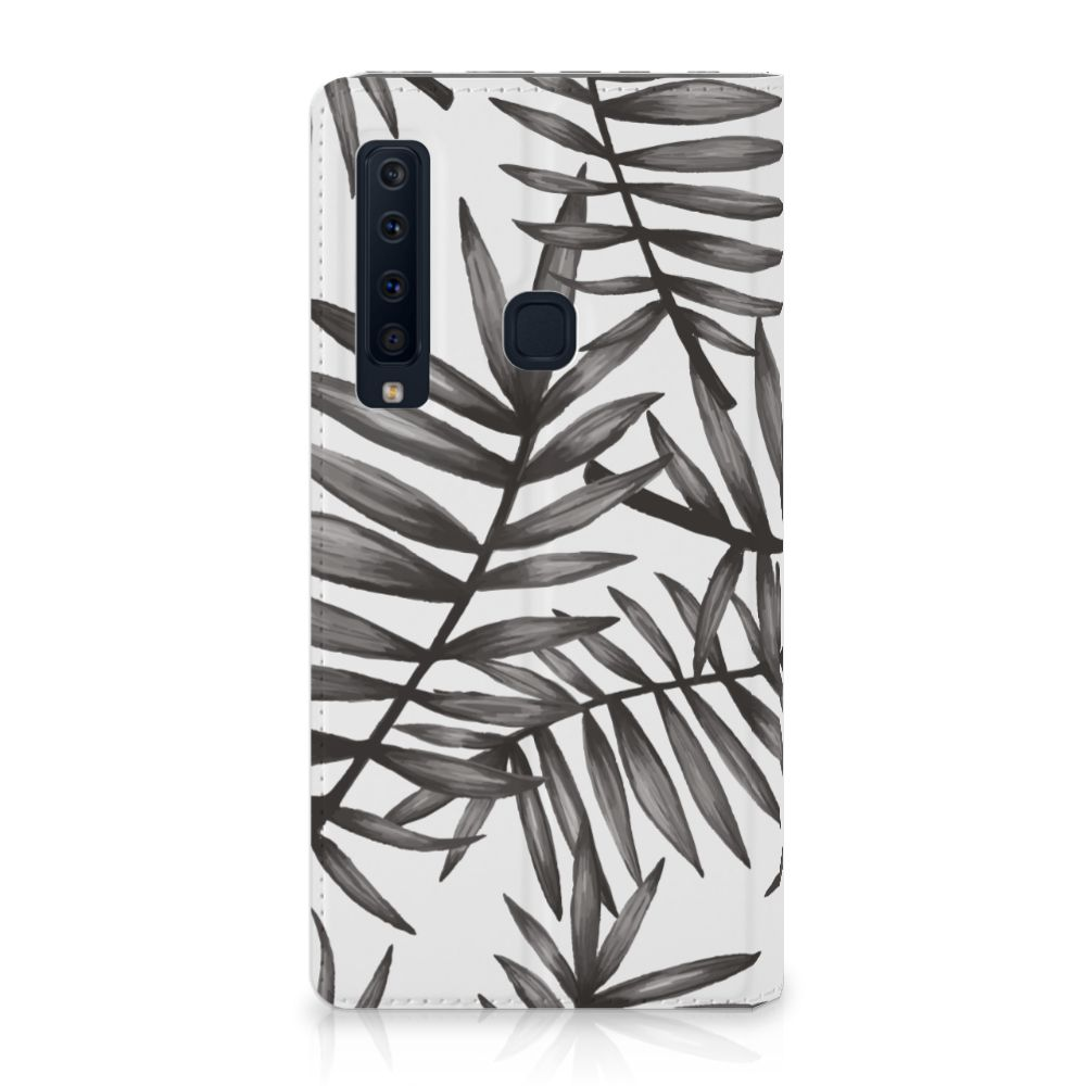 Samsung Galaxy A9 (2018) Uniek Standcase Hoesje Leaves Grey