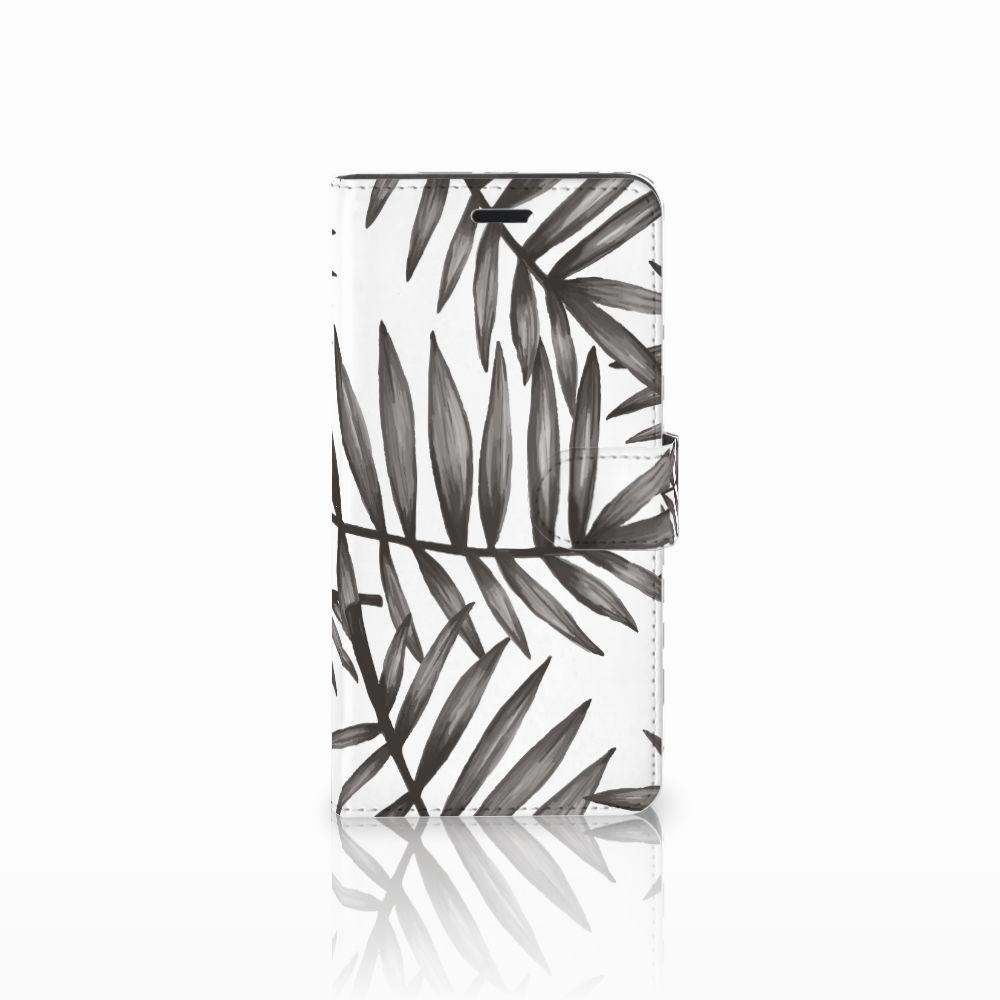 Wiko Pulp Fab 4G Uniek Boekhoesje Leaves Grey