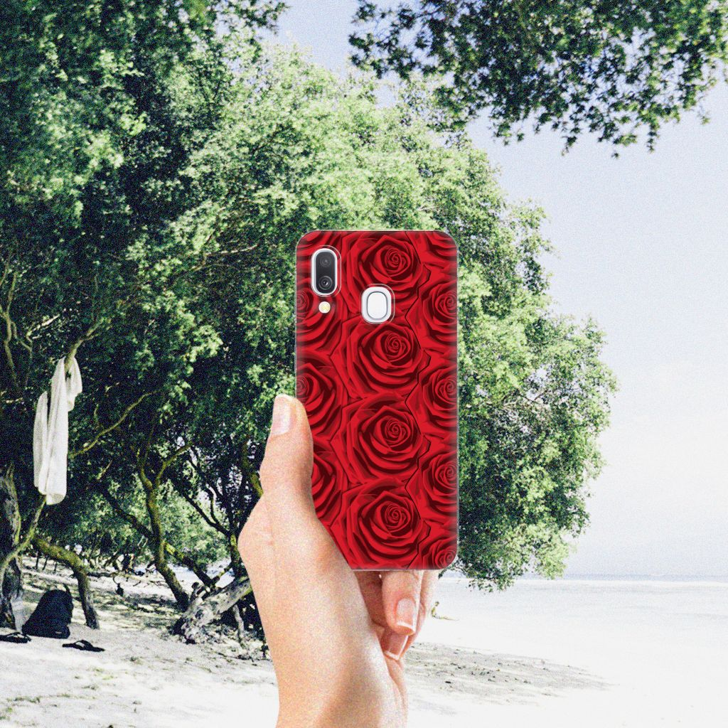 Samsung Galaxy A40 TPU Case Red Roses