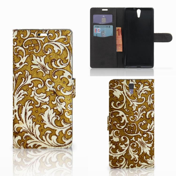 Wallet Case Sony Xperia C5 Ultra Barok Goud