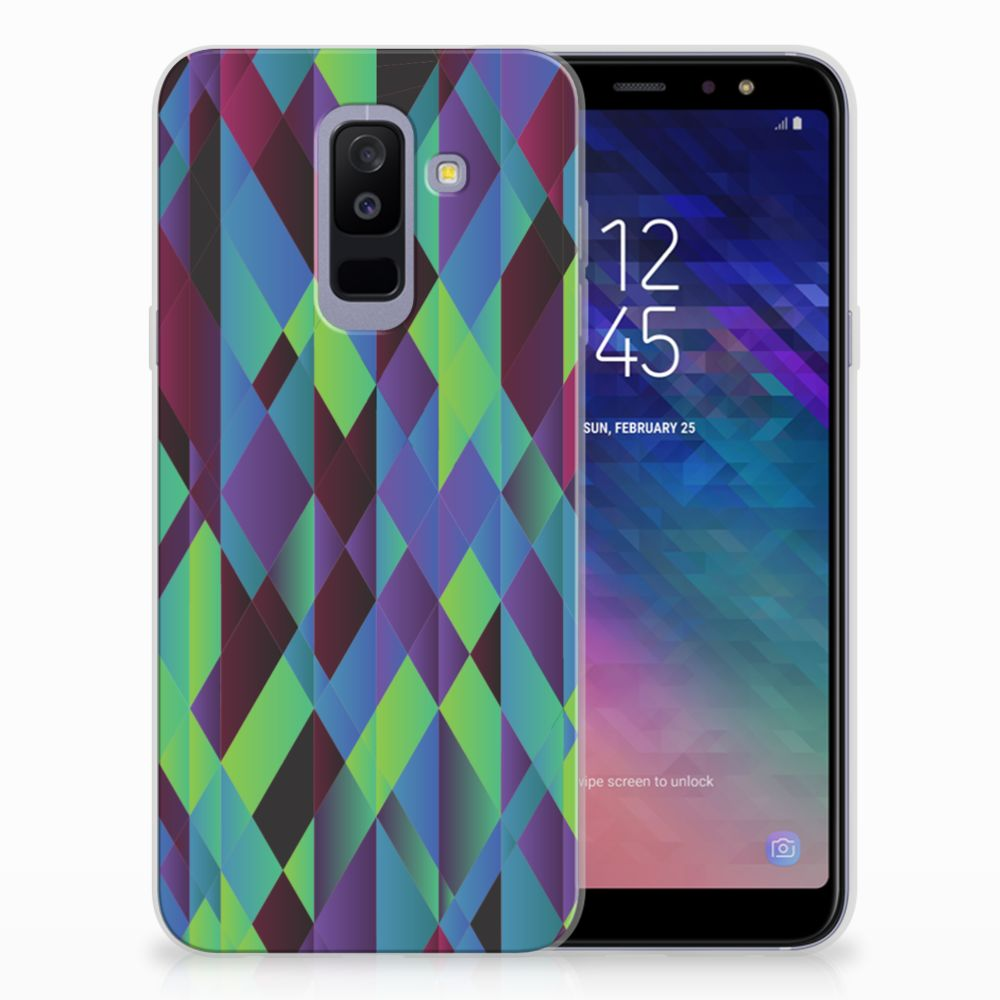 Samsung Galaxy A6 Plus (2018) TPU Hoesje Abstract Green Blue
