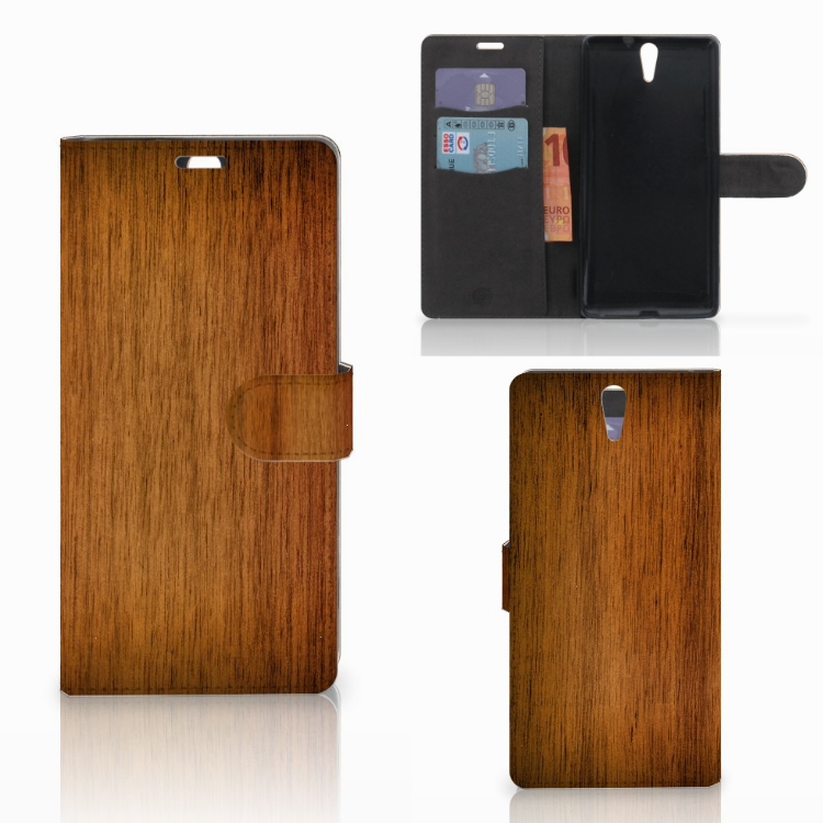 Sony Xperia C5 Ultra Book Style Case Donker Hout
