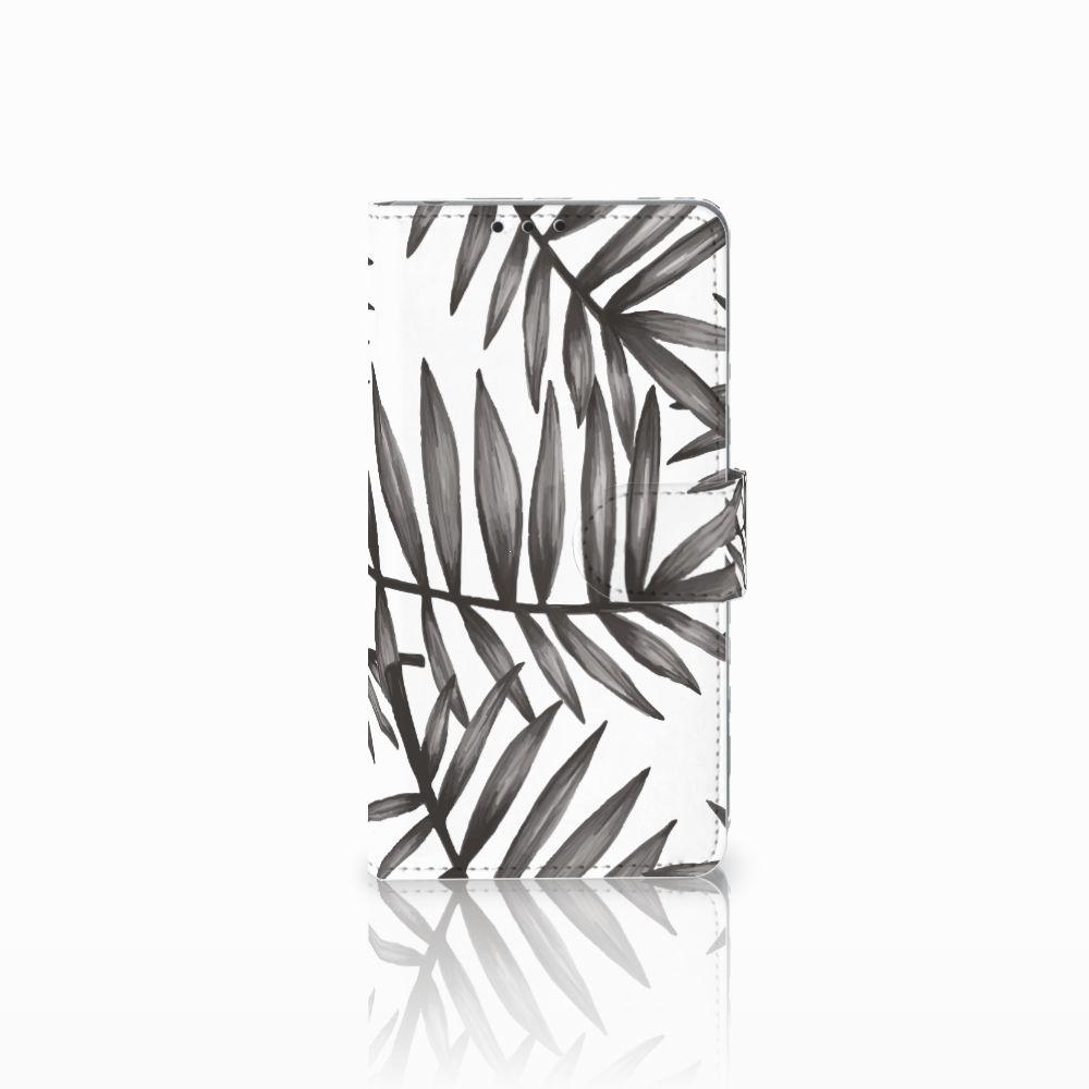 Sony Xperia Z1 Uniek Boekhoesje Leaves Grey