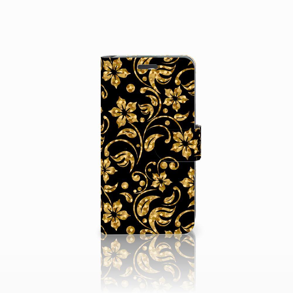 Acer Liquid Z520 Boekhoesje Design Gouden Bloemen