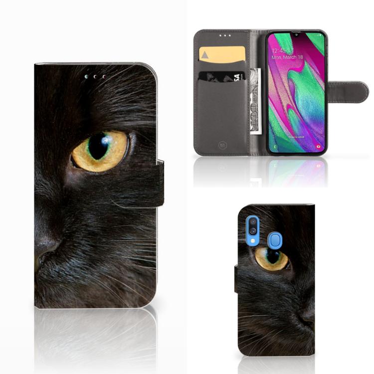 Samsung Galaxy A40 Telefoonhoesje met Pasjes Zwarte Kat