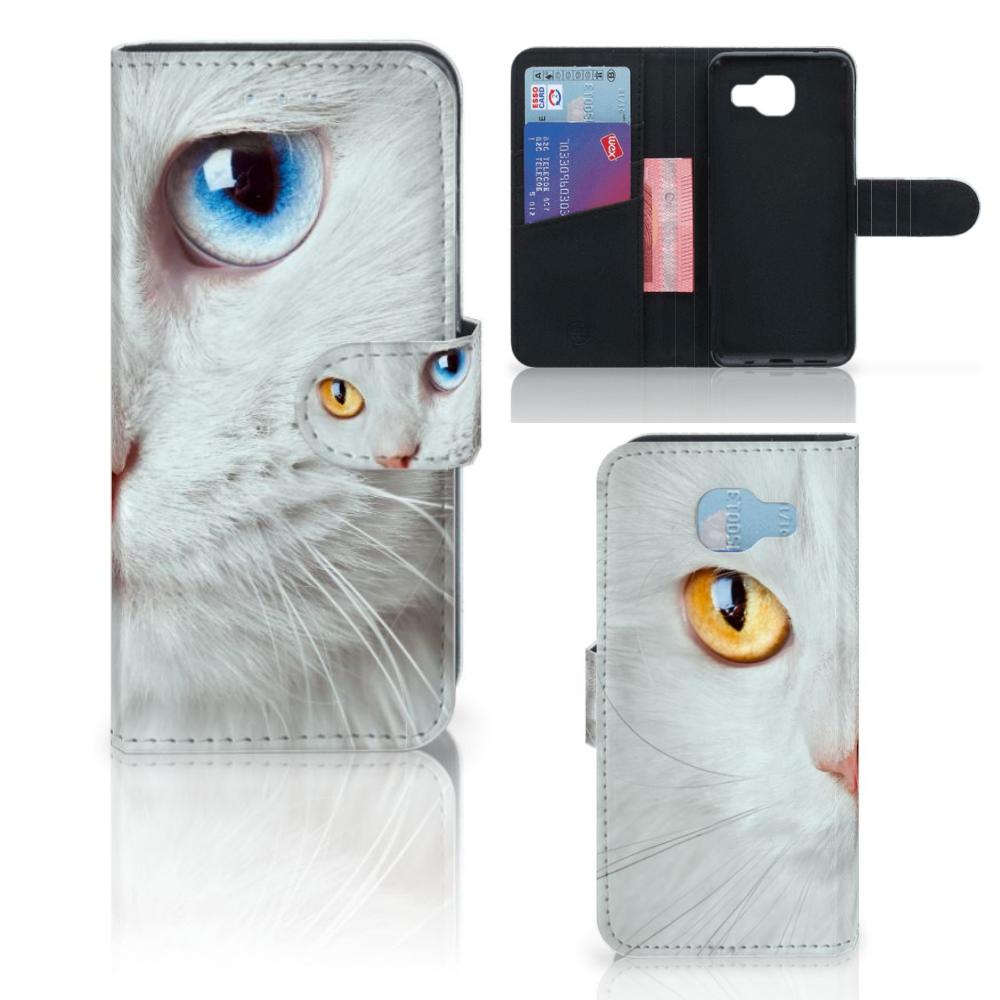 Samsung Galaxy A5 2016 Telefoonhoesje met Pasjes Witte Kat