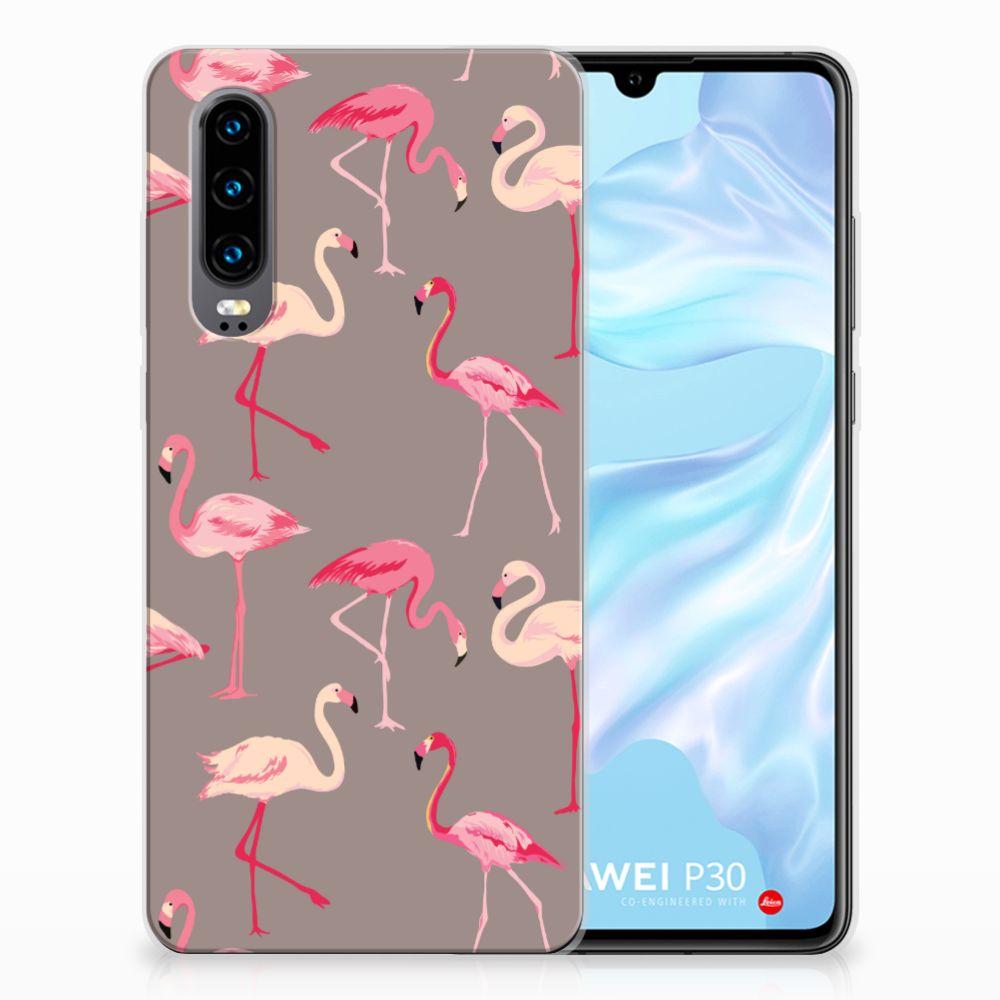 Huawei P30 Uniek TPU Hoesje Flamingo