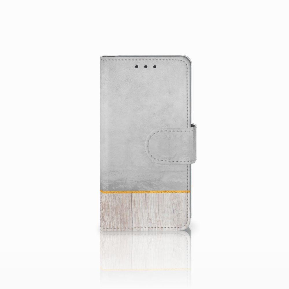 Samsung Galaxy A3 2015 Uniek Boekhoesje Wood Concrete