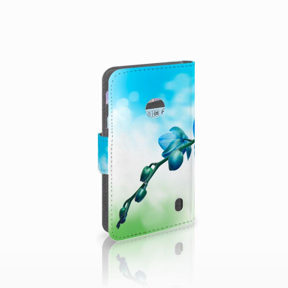 Nokia Lumia 520 Hoesje Orchidee Blauw