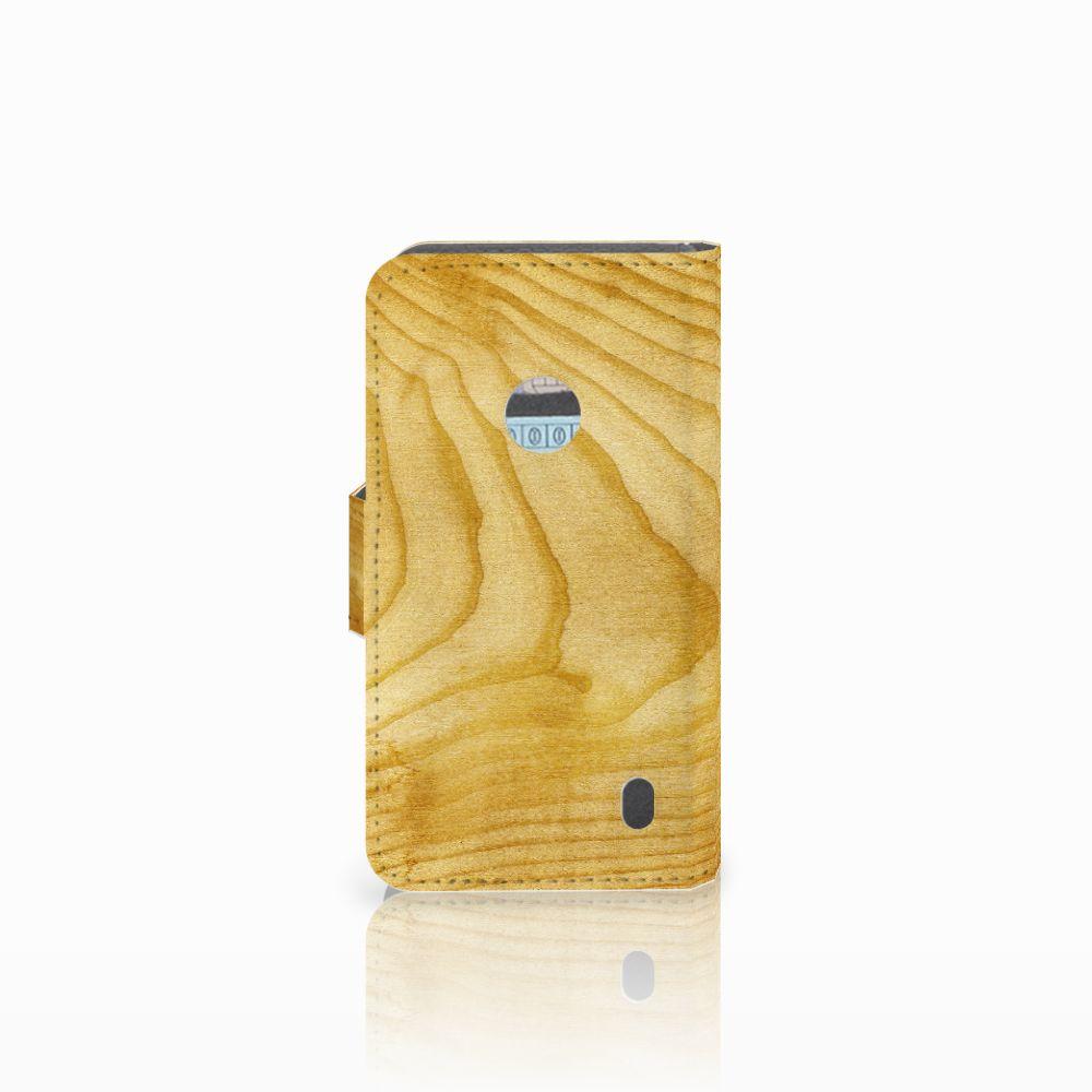 Nokia Lumia 520 Book Style Case Licht Hout