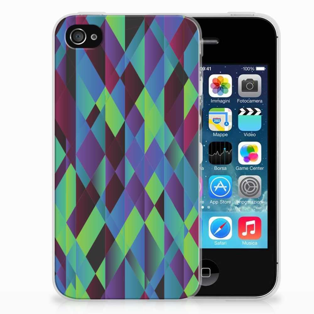 Apple iPhone 4 | 4s TPU Hoesje Design Abstract Green Blue