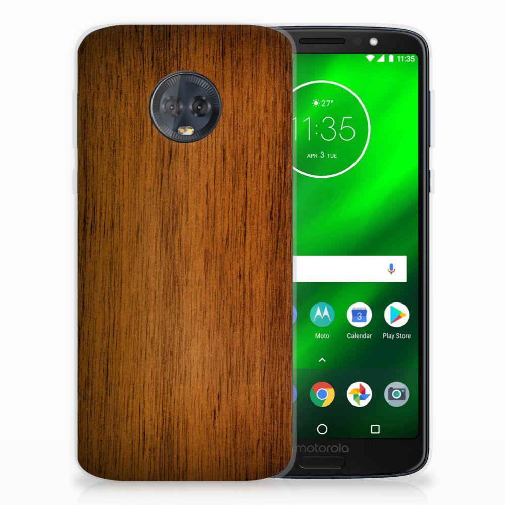 Motorola Moto G6 Plus Uniek TPU Hoesje Donker Hout